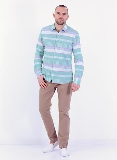 Cazador Slim Fit Uzun Kollu Desenli Gömlek Yeşil